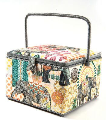 Sewing Basket XL Square-Boho Elephant