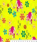 Snuggle Flannel Print Fabric -ABC Elephants
