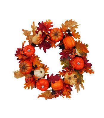 Blooming Autumn Pumpkin & Berries Wreath-Multi