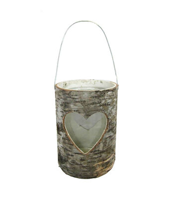 Bloom Room Birch Bark & Glass Container with Heart Cutout