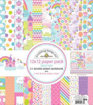 "Doodlebug Double-Sided Paper Pack 12""X12""-Fairy Tales"
