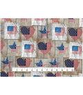 Patriotic Cotton Fabric 43\u0022-Heart & Star Woodblocks