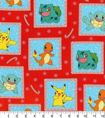 Holiday Cotton Fabric -Pokemon Squares