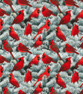 Christmas Cotton Fabric-Cardinals & Pine Trees