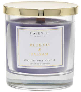 Haven St. Candle Co. 8 oz. Blue Fig & Balsam Scented Wooden Wick Candle