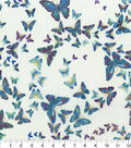 Premium Cotton Fabric-Floating Butterly on Cream