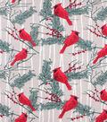Fleece No Sew Throw 72\u0022-Cardinals and Berries