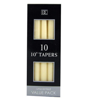 "Hudson 43 Candle & Light Collection 10pk 10"" Unscented Taper Candles-Ivory"