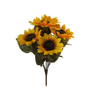 Faux flowers floral stems sprays joann blooming autumn sunflower bush light yellow mightylinksfo