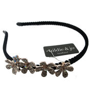 hildie & jo Black Headband with Flowers-Iridescent Crystals, , hi-res