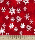 Red Snowflake Print Fabric