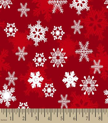 Red Snowflake Print Fabric