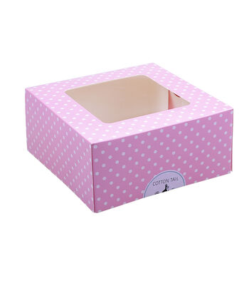 Easter Square Cookie Boxes with Cottontail Sticker-Polka Dots on Pink