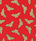 DC Comics Wonder Woman Cotton Fabric 44\u0027\u0027-Metallic Logo Toss