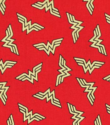 DC Comics Wonder Woman Cotton Fabric -Metallic Logo Toss