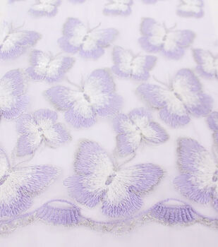 Sew Sweet Dahlia Embellished Mesh Fabric 54''-Butterfly with Purple Border