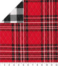 Double Faced Quilt 42\u0022-Red Plaid Blk Check
