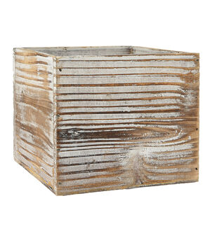 Square Wood Planter 5''x5''-White
