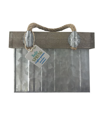 Hello Spring Large Metal Crate with Rope Handle