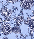 Snuggle Flannel Print Fabric -Floral On Cashmere Blue