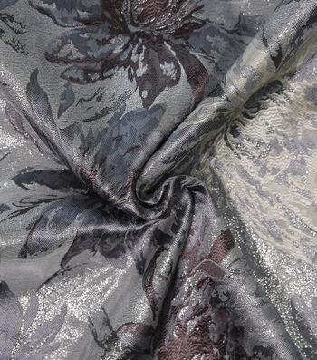 Metallic Brocade Fabric-Floral Silver
