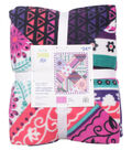 No Sew Fleece Throw 72\u0022-Floral Stripe Patchwork