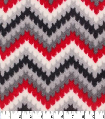 "Anti-Pill Fleece Fabric 59""-Red Grey Chevronicle"