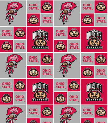 Ohio State University Buckeyes Cotton Fabric -Block