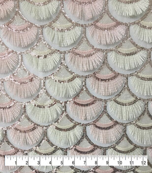 Casa Embellish Dahlia Fabric-Scallop Sequin Fringe on Mesh