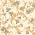 Alessia Beige Scrolling Leaf Wallpaper Sample