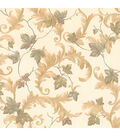 Alessia Beige Scrolling Leaf Wallpaper