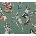 Halloween Cotton Fabric-Beauty with Brains on Green