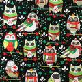 Doodles Christmas Cotton Fabric 57\u0022-Multi Folk Owls On Black