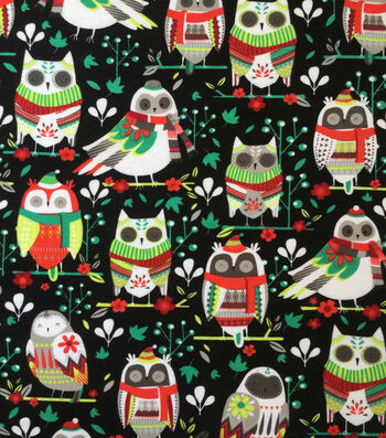 "Doodles Christmas Cotton Fabric 57""-Multi Folk Owls On Black"