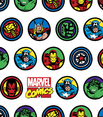 "Marvel Flannel Fabric 42""-Comic Badges"