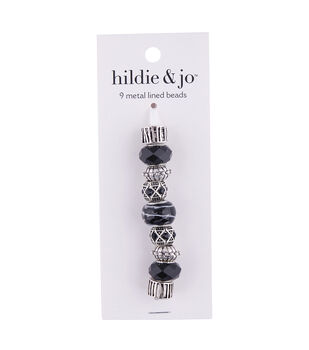 hildie & jo Mix & Mingle 9 pk Metal Lined Glass Beads-Black