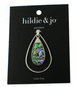 hildie & jo Teardrop Silver Pendant-Iridescent Blue & Green Swirl