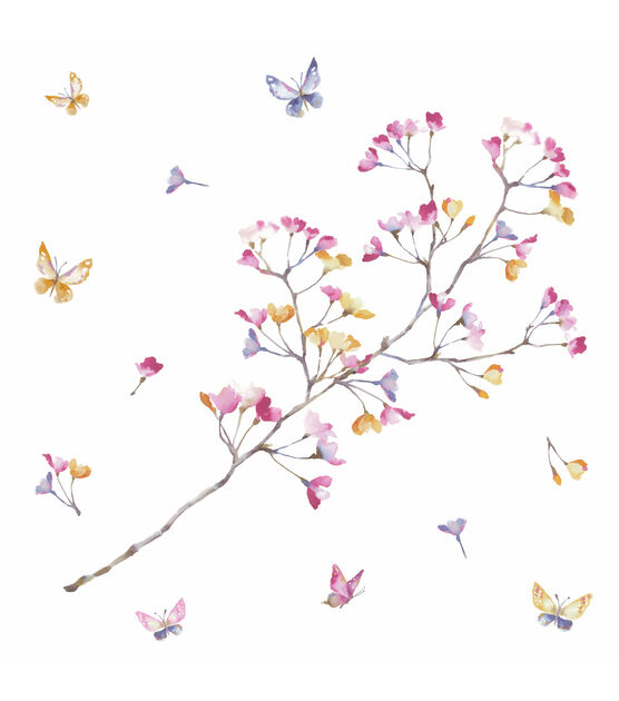York Wallcoverings Wall Decals Pastel Flowers Branch, , hi-res, image 2