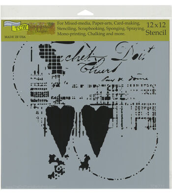 The Crafter's Workshop Rebekah Meier 12''x12'' Stencil-Two Hearts