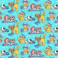 Novelty Cotton Fabric-Beach Kitties Aqua