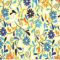 Premium Cotton Fabric-Modern Floral Vines Yellow