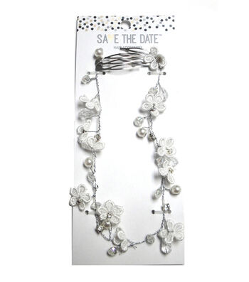 Save The Date Hair Vine with Flowers-Silver & White