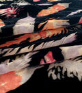 Silky Velvet Burnout Fabric-Pink Feathers on Black