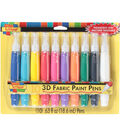 Scribbles 3D Fabric Paint Pens 10/Pkg-Assorted