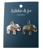hildie & jo 2 Pack Elephant Silver Charms-Gear Accents, , hi-res