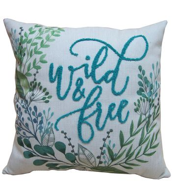 Hello Spring Embroidered Pillow-Wild & Free