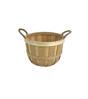 Medium Wood Basket with Jute Rope Handles
