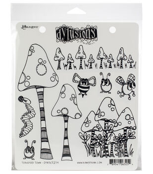 Ranger Dyan Reaveley's Dylusions Cling Stamps-Toadstool Town