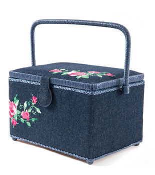 Large Rectangle Sewing Basket-Embroidery on Denim
