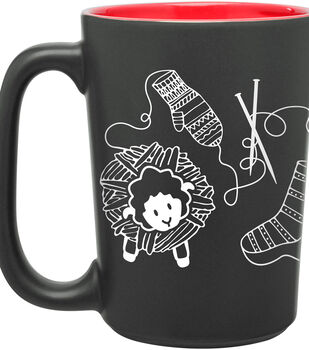 Knit Happy ScriBubblees Mug 10oz-Red